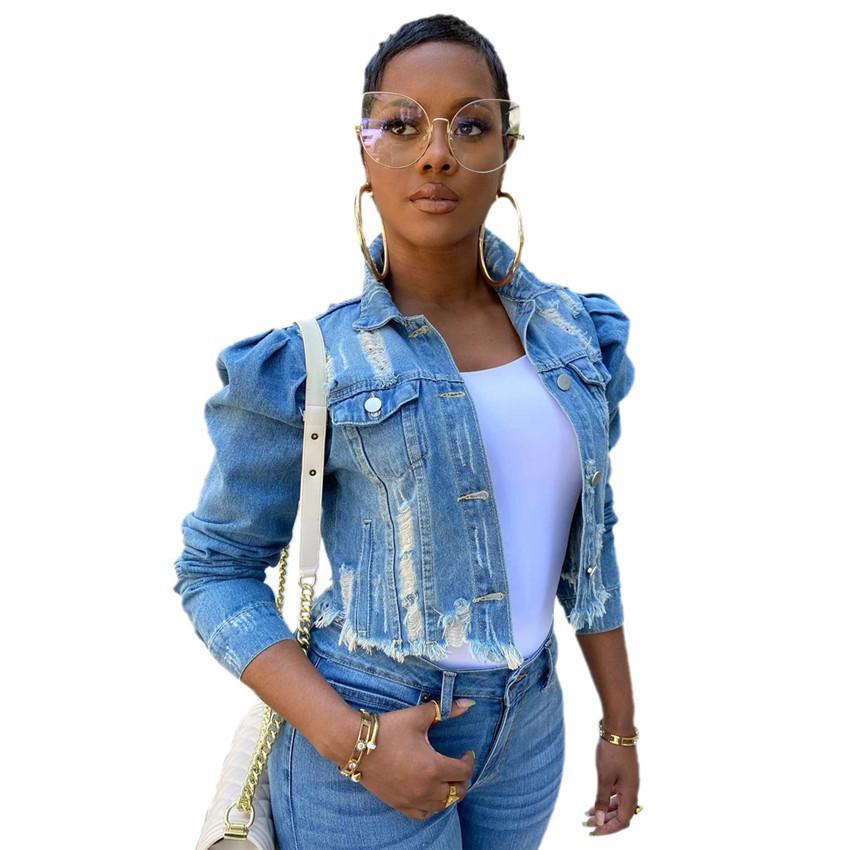 زائد الحجم المرأة الدينيم الستر الشارع الشهير الهيب هوب خمر اقتصاص قصير جان معطف النفخة كم سليم ممزق جينز سترات S-5XL 3 ألوان F92201
