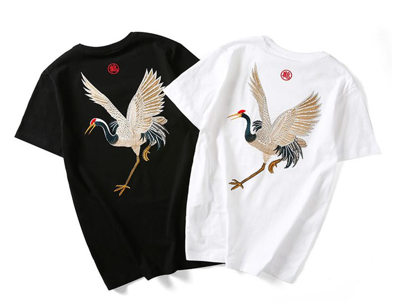 Men's embroidered cotton Tees, Summer fashion short sleeve Tops, Street hip hop t-shirts, boys free style clothing, R1M810TS-13