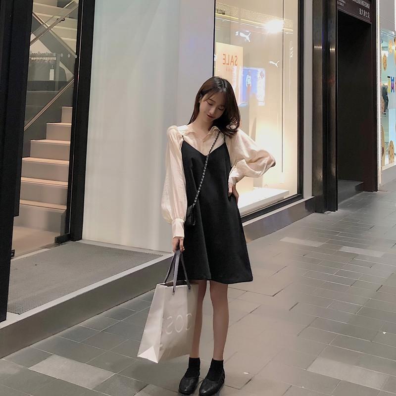 terno roupas doce 2020 Outono nova fadas gracioso vestido vestido de Super fadas Mori de duas peças das mulheres