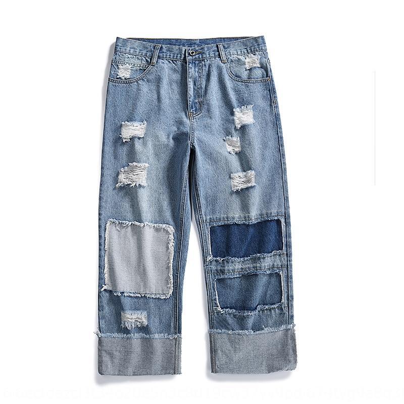 lWVIs LKTM Männer # amerikanische Straße lose gerade Herren-Loch-Patch und Jeans Mop Jeans beggar breit Bein Vater Mop Hosen