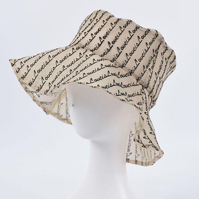 Nouveau Femmes lettres Mode mince chapeau de pêcheur Respirant seau Cap pare-soleil