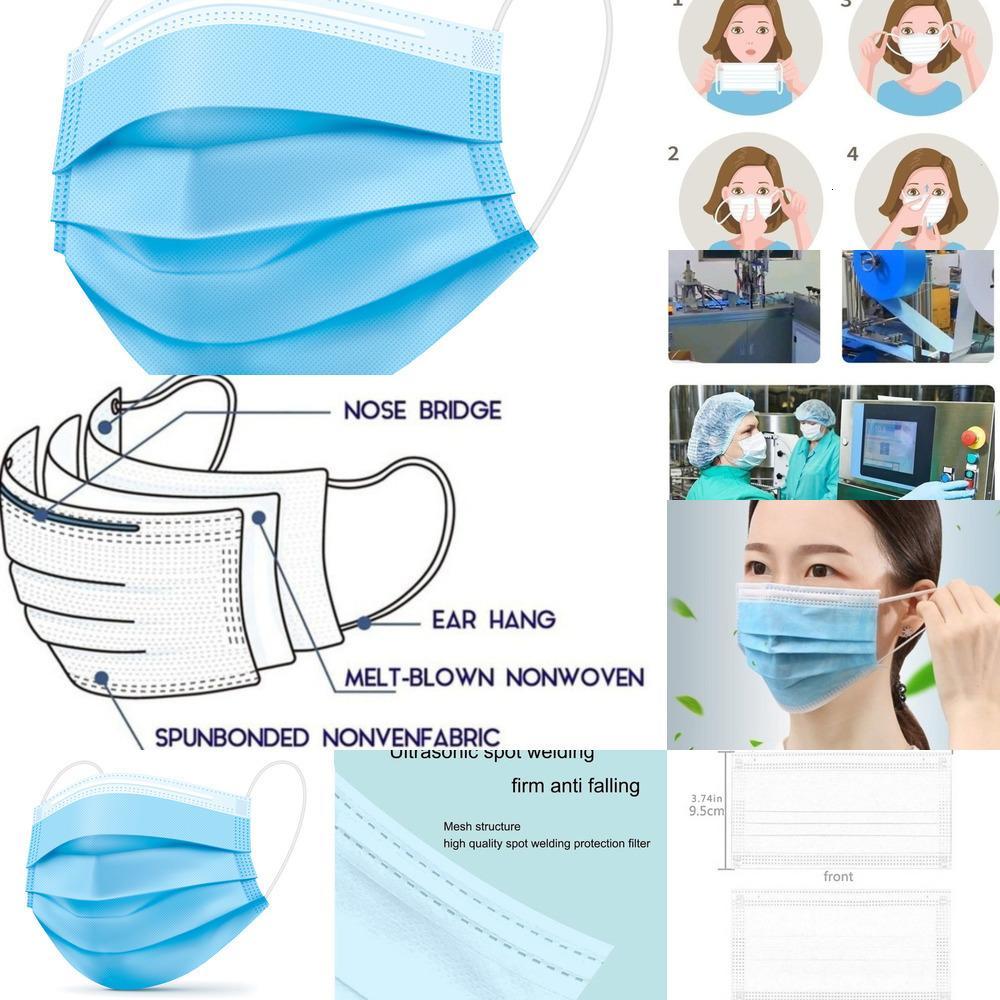 300pcs Einweg-Gesichtsmasken 100 Stück Soft-on Skin 3 Ply Protektoren mit Elastic Non Woven, Single Use - Effec D702L BG35