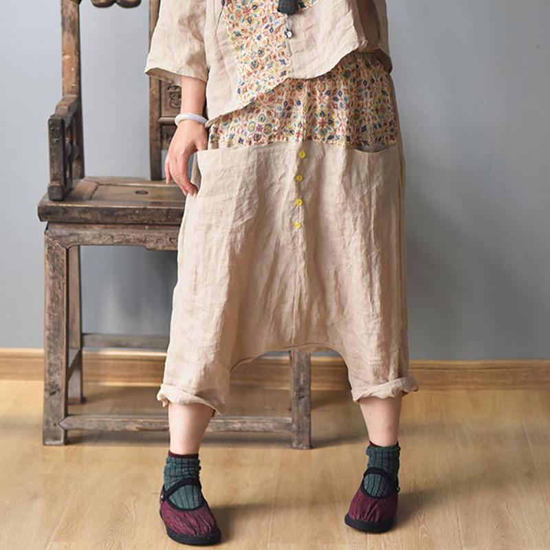 Johnature Mulheres Harem Vintage Calças elástico na cintura das calças 2020 Verão New Pockets Calças Patchwork Cor solto de linho fêmeas