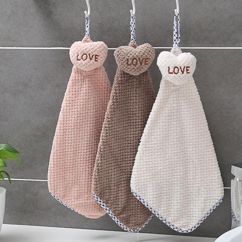 Симпатичные Полотенце руки с отверстием для подвешивания бытовых полотенце для рук с сердцем для кухни кухни