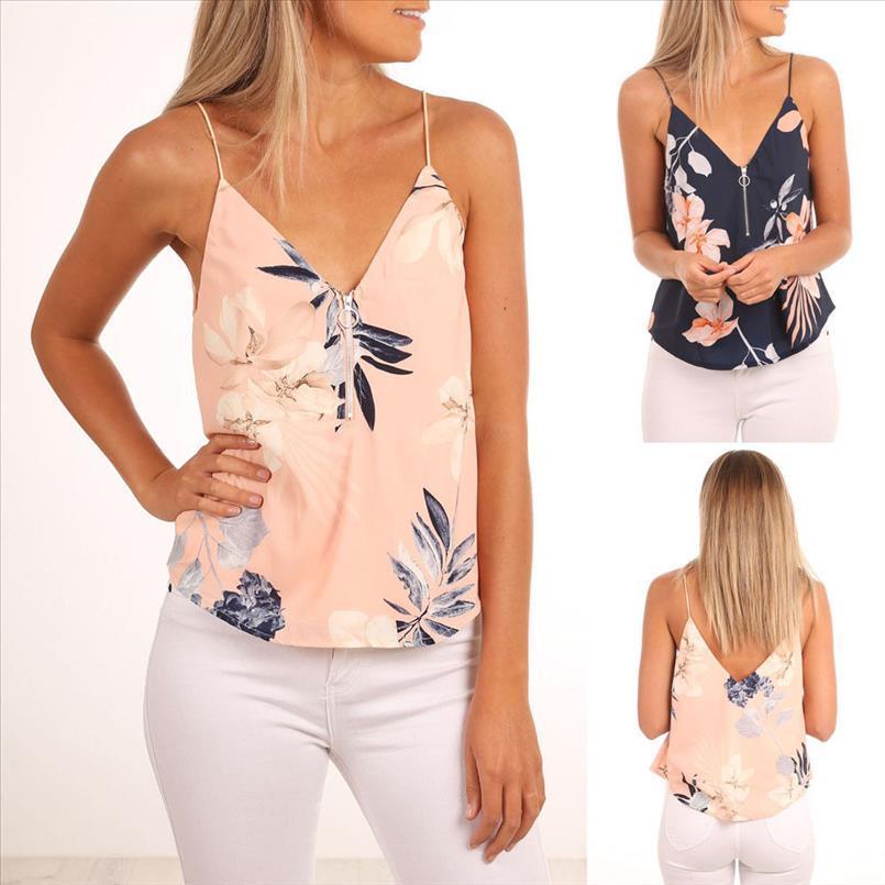 2020 delle signore delle donne collo di modo V della chiusura lampo Crop Top Tanks cinghia maglia di estate donne floreale stampato canotte
