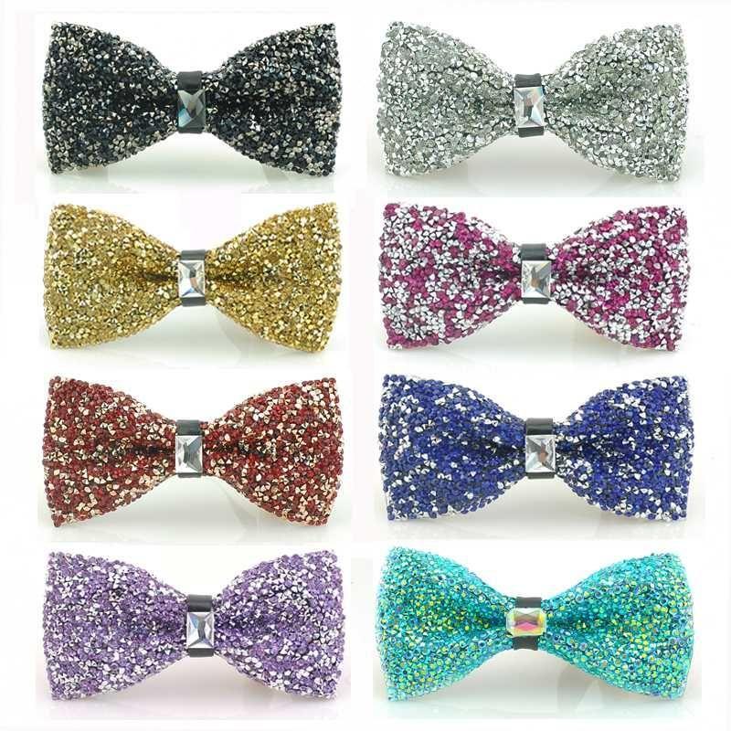 Luxuoso do casamento Partido Rinestone gravata para homens-Pretied cristal arco laços com comprimento ajustável variedade enorme Cores disponíveis