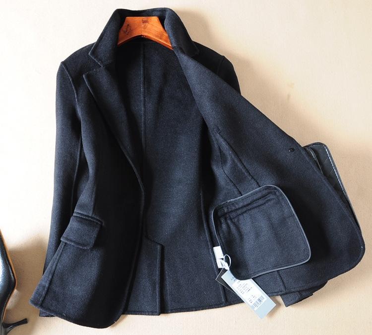 Double-sided en curto 2019 outono e inverno novo preto pequeno terno de lã 5r60T terno casaco feminino de lã casaco de lã das mulheres