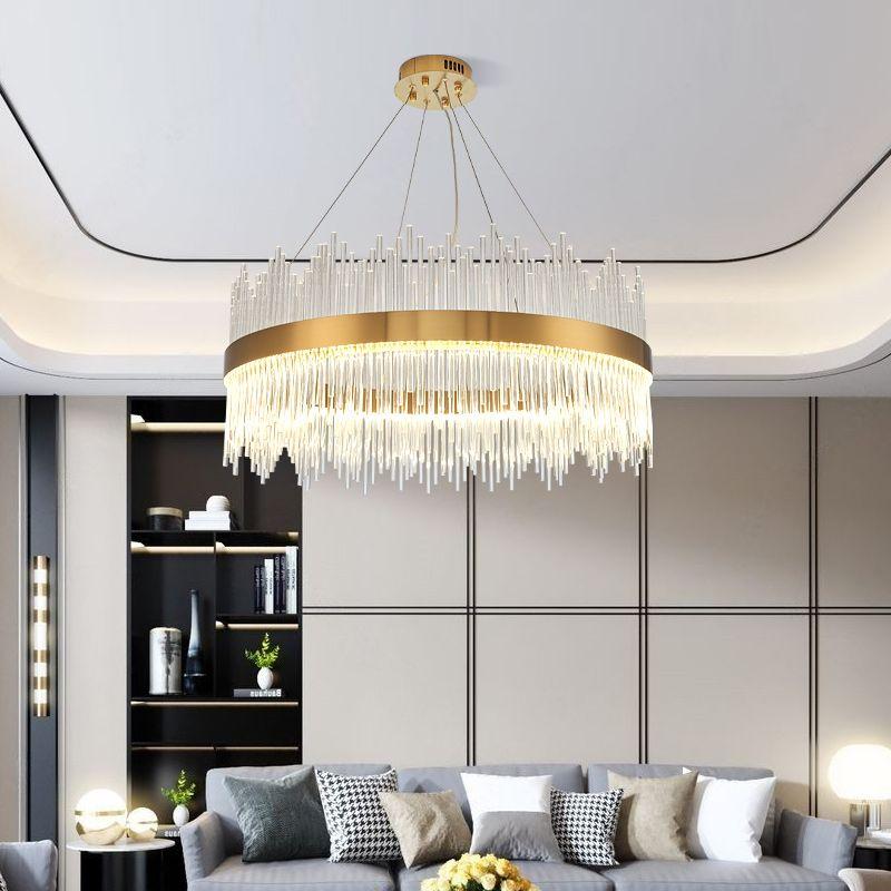2020 rotondo moderno lampadario di cristallo per mensa disegno di rettangolo di Isola della cucina apparecchi di illuminazione a LED Chrome Cristal Luster
