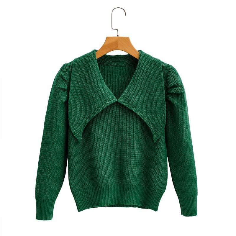 2020 Green Clothing Women Sweater Autumn clothing Fall-style french-style pinch-pleated sleeve large-pointed neck sweater girls cut-age