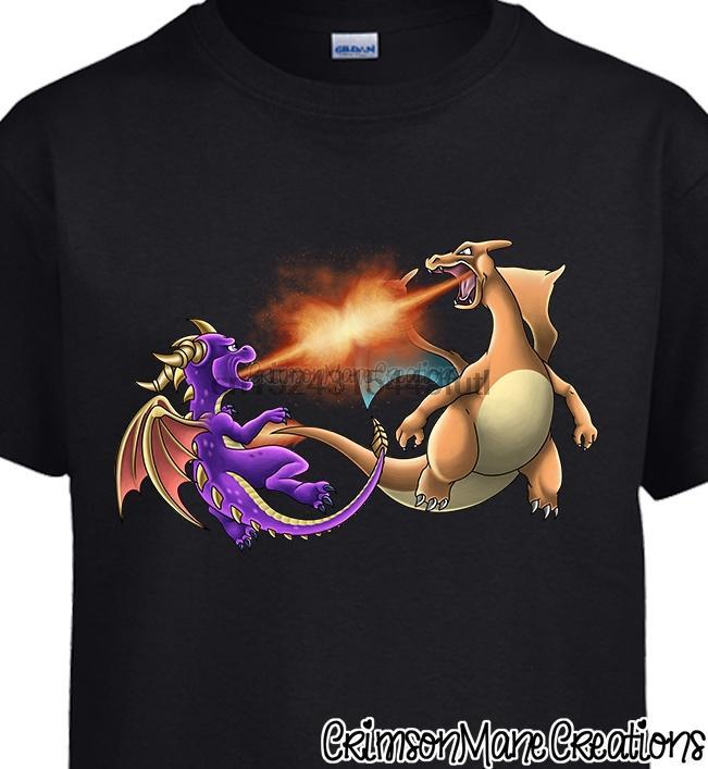 Spyro Vs Charizard la batalla del dragón camiseta de algodón - para niños de señoras para hombre Tamaños