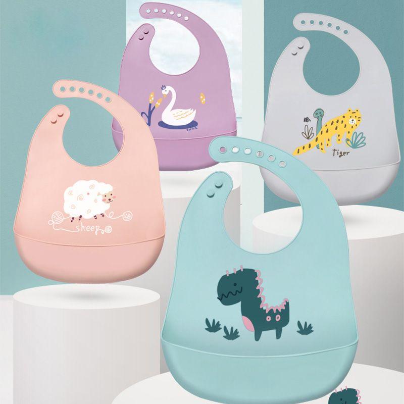 Cute Baby Bibs Waterproof Soft Silicone Cartoon Print Baby Feeding Stuff Dinosaur Kids Girl Boy Adjustable Children Bib