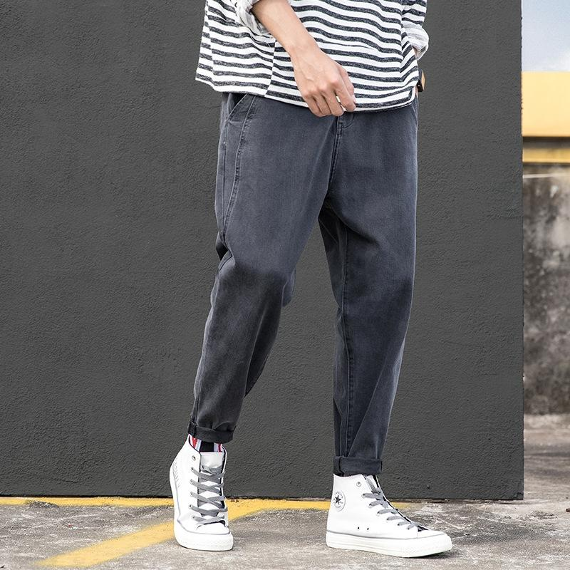 KpAVH Herbstmann plus Tasche Stretch loser Fett modische Persönlichkeit Marke Größe Jeans und Jeans zurück und Hose
