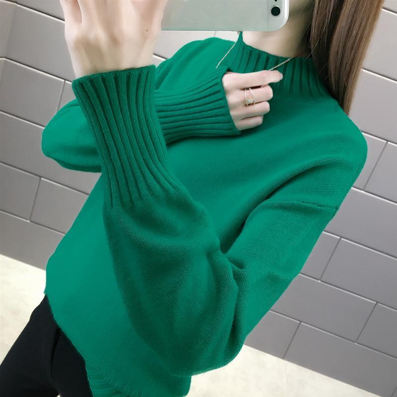 GOOHOJIO Женщины вязать свитер длинных рукавов Половина водолазки женского Casual Solid моды пуловеры женских зимний пассив рубашку