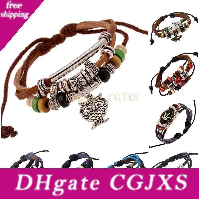 2016 Wrap il braccialetto di cuoio a più strati di misura adattabile gotico del braccialetto di svago Mens Retro Style 8 disegni di gioielli di moda D836l