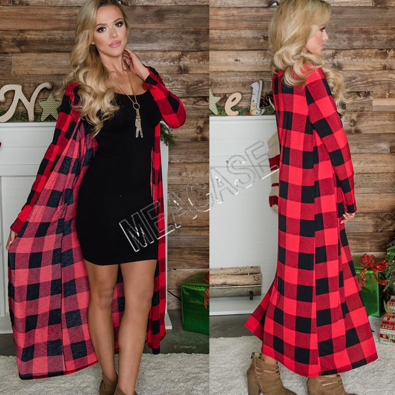 Women Cardigan Clothes 2020 autumn and winter fashion long-sleeved plaid print long sweater cardigan casual jacket Blouses Loose SweatD81206
