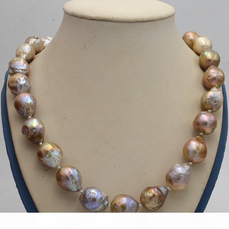 Fine Jewelry Pearl Nuova naturale 14x17mm Reborn barocco Edison viola Perle nodo collana 18