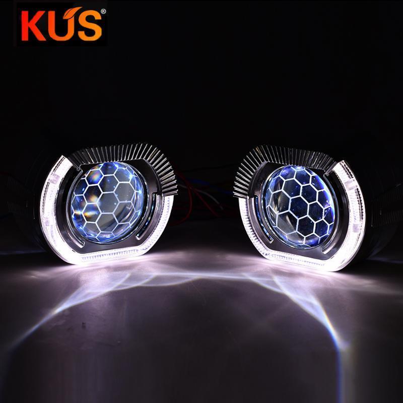 2.5 Blue Honeycomb Bi Xenon Projector Lens DRL Square Sport LED Angel Eye Shroud Headlamp H4 H7 H1 Car Lights Accessories Tuning