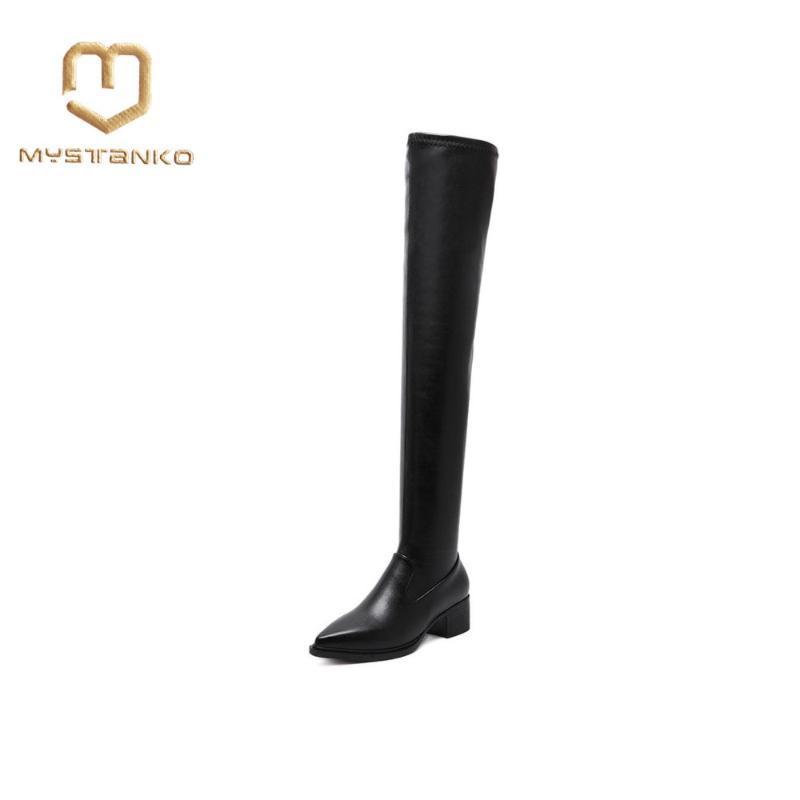 Kalın elastik sivri çizme Diz peluş el yapımı kaliteli klasik bayan ayakkabı ile Moda siyah süet deri botlar. XZ-022