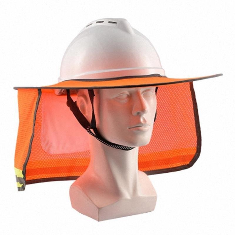 Completa Brim poliéster Pára-Viseira Cortina Edifício site Neck Proteção Para Capacete de Segurança Proteção UV Reflective Visor FCMF #