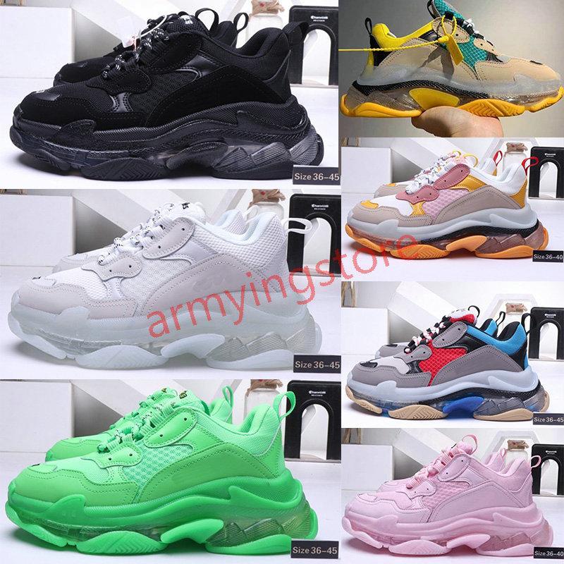 2020 BalenciagaTriple-S3.0 shoesLuxuryBrand Triple-S Дизайнерская обувь Кристалл подошва Кроссовки Тройной Mens Casual Женщины дизайнер вскользь Спортивные тренажеры Zapatos
