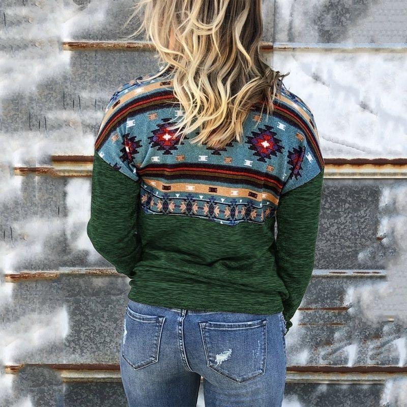SvCdm SPKcm 2019 inverno camisola Outono mulheres geométrica lapela Top e impresso de manga comprida superior com zíper casaco Brasão camisola
