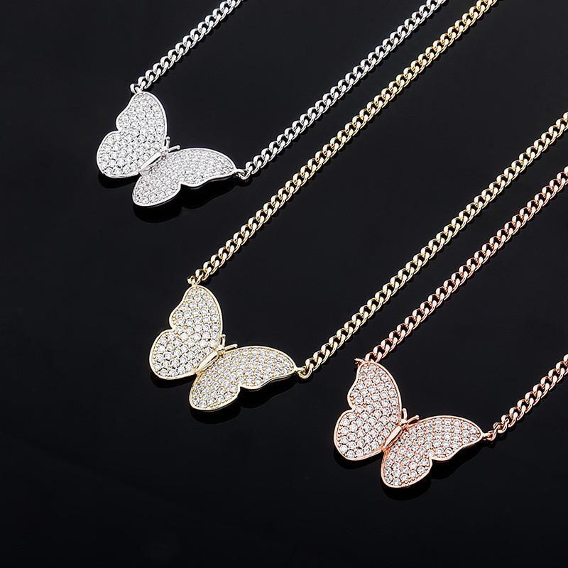 Collar caliente de la joyería de moda collar de las mujeres de los hombres chapado en oro de la CZ de la mariposa colgante con la cadena libre cubana collar bonito regalo