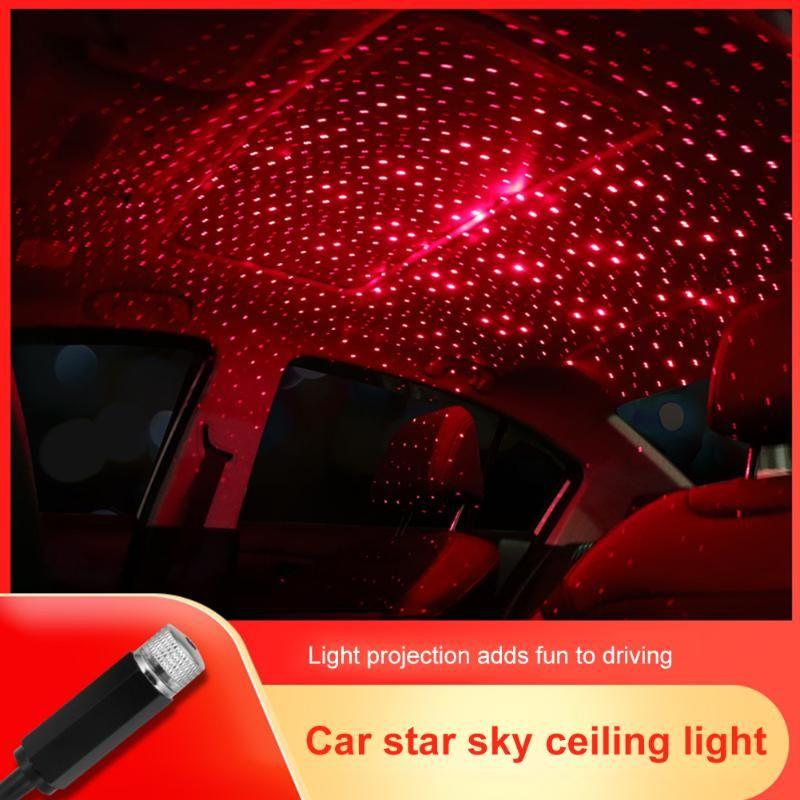 USB Auto Décoration LED Light Mini voiture toit Star Light Intérieur Atmosphere lampe de projecteur Red Lights