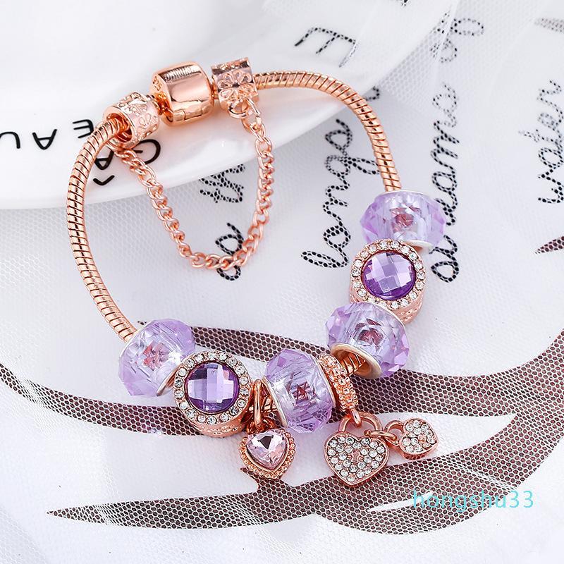 Горячие продажи мода роскоши дизайнер кристалл алмаза DIY Европейского бисер сладкое сердце очарование браслет для женщины девочек розового золота