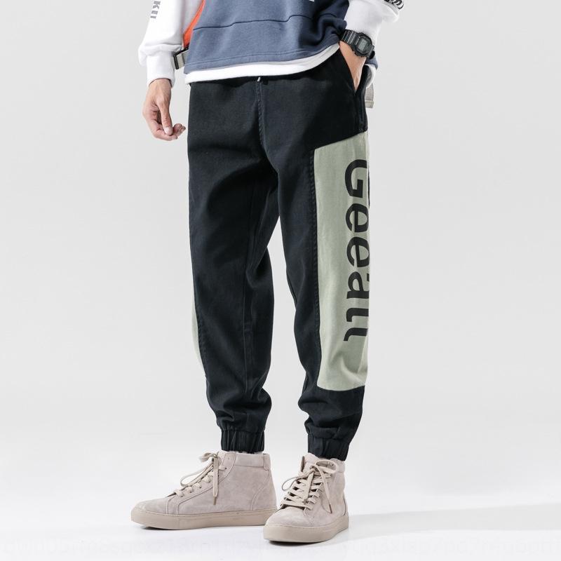 Grande porte esportes solta cordão calças casuais moda ocasional marca de gordura dos homens versáteis calças harem juventude m75VN
