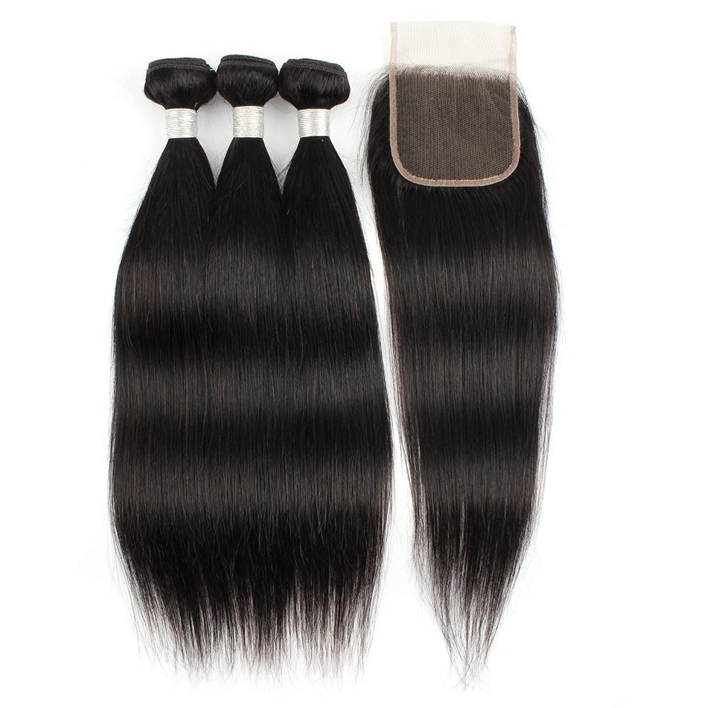 3 pacotes com 4 * 4 laço fechamento natural cor reta 100% extensão de cabelo humano remy trama de cabelo virgem indiana brasileira