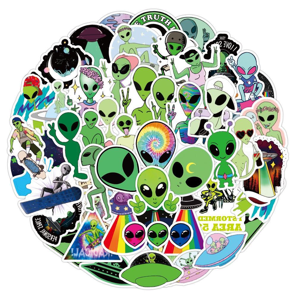 50pcs/Lot ET Alien UFO Cartoon Pegatinas DIY Skateboard Car Stickers bomb Vinyl Laptop Luggage Decal Sticker lot cool