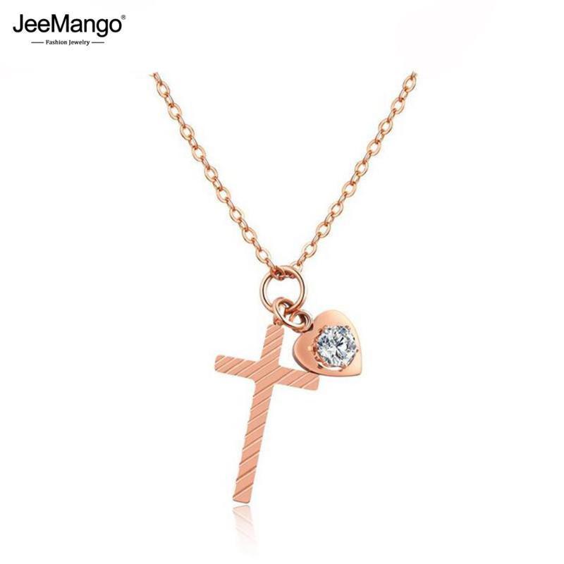 JeeMango Moda Fresca pequeña cruz del amor del corazón de acero de titanio rosa Color de los vínculos Cadena de Oro Gargantillas collar para las mujeres JOGX1171