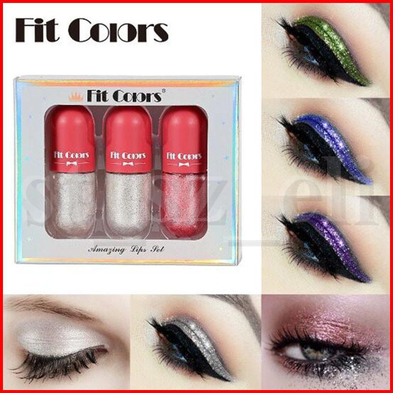 Fit Colors 6 Colors Glitter Liquid Eyeshadow Crystal Liner Eye shadow Stick 3pcs/set Diamond Shimmer Mini Eye shadows Set