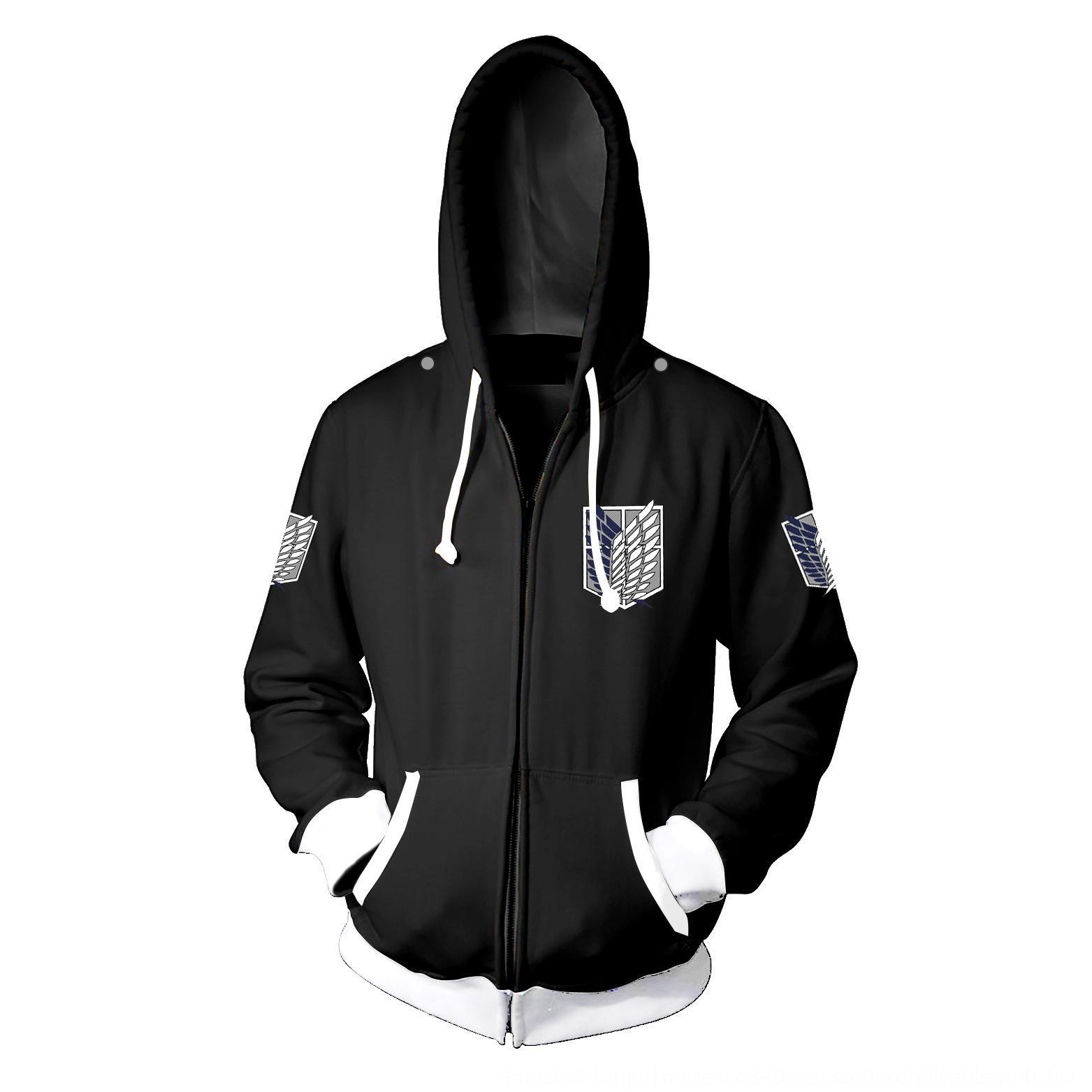 Nova ataque impressão gigante 3D camisola zíper zíper casaco com capuz camisola cosplay anime periférica