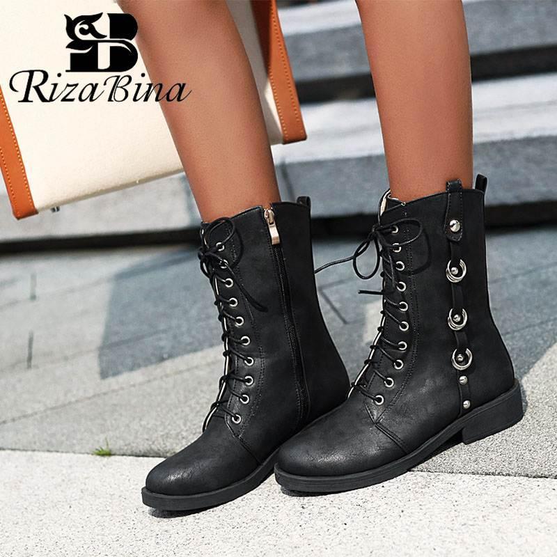 RizaBina Kış Kadın Orta Buzağı Boots Moda Çapraz Kayış Basit Yan Fermuar Ayakkabı Kadınlar Perçinler Yuvarlak Burun Ayakkabı Boyut 32-43
