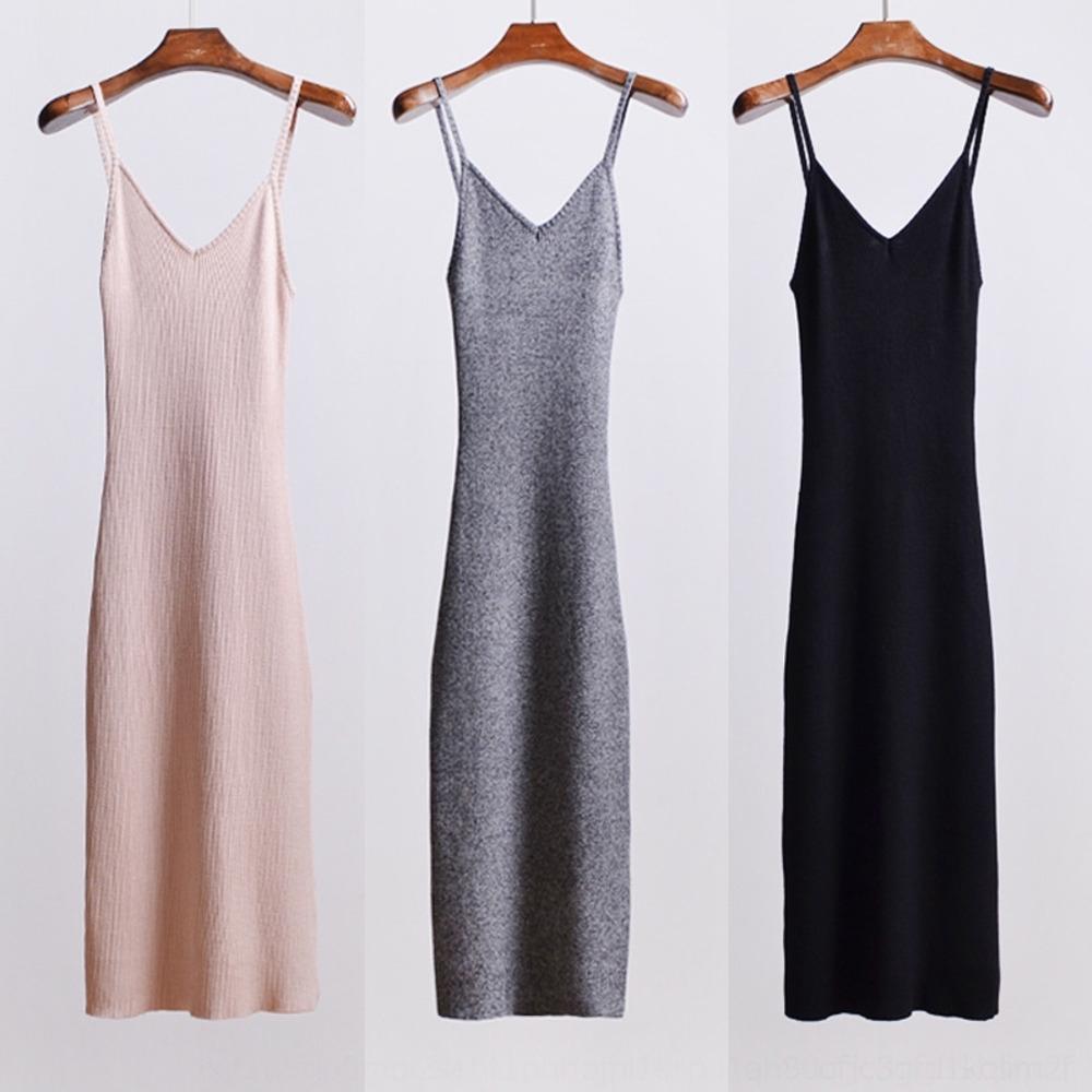 i4keE primavera y el verano géneros de punto de buena atractivo de la cintura-cerrado de división de la liga de la falda del vestido vestido de la honda V-cuello elástico muy nuevo