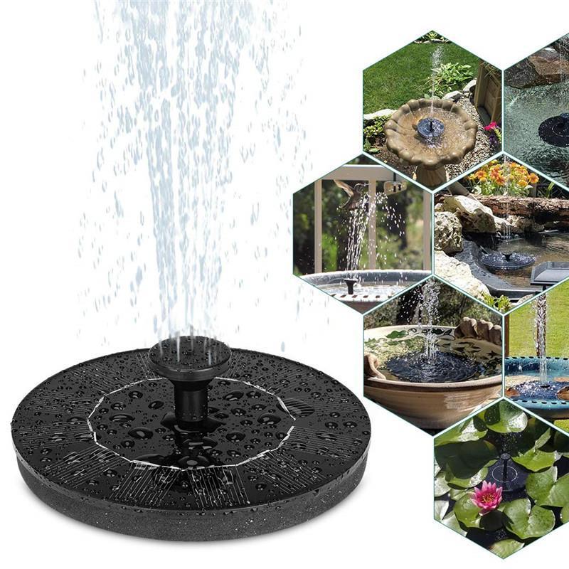 Solar Powered Fountain Pump Kit Round Floating Fountain Bird Bath Garden Decoration Petal Fountain Water Pump