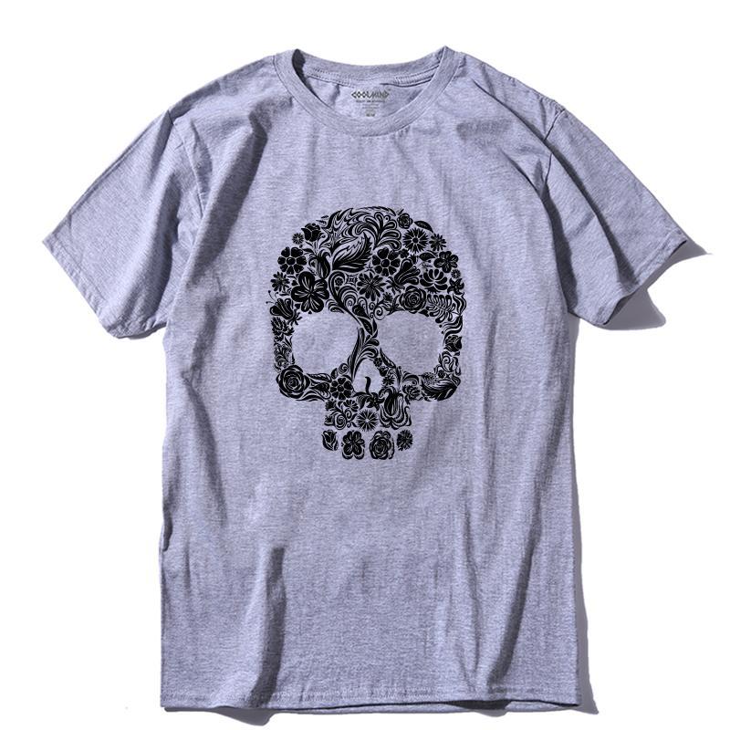 COOLMIND SK0228A 100% cotone o-collo della camicia punk fresco T estate casuale T-shirt stampa teschio uomini sciolti maglietta Camicie Uomo tees pthd