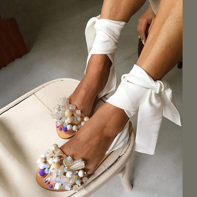 2020 Scarpe Sandali donna Sandali piatti della cinghia della caviglia in rilievo Handmade Womens speciale Beach Sandals Taglie 35-43