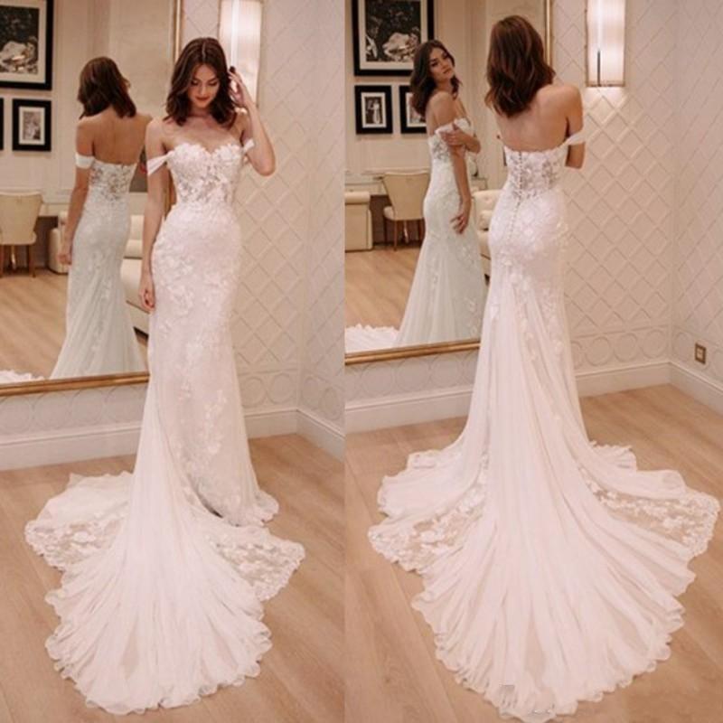 Modern Mermaid Lace Vestidos Off Appliques ombro Varrer Train Vestidos de novia vestido de casamento vestidos de noiva vestidos de noiva
