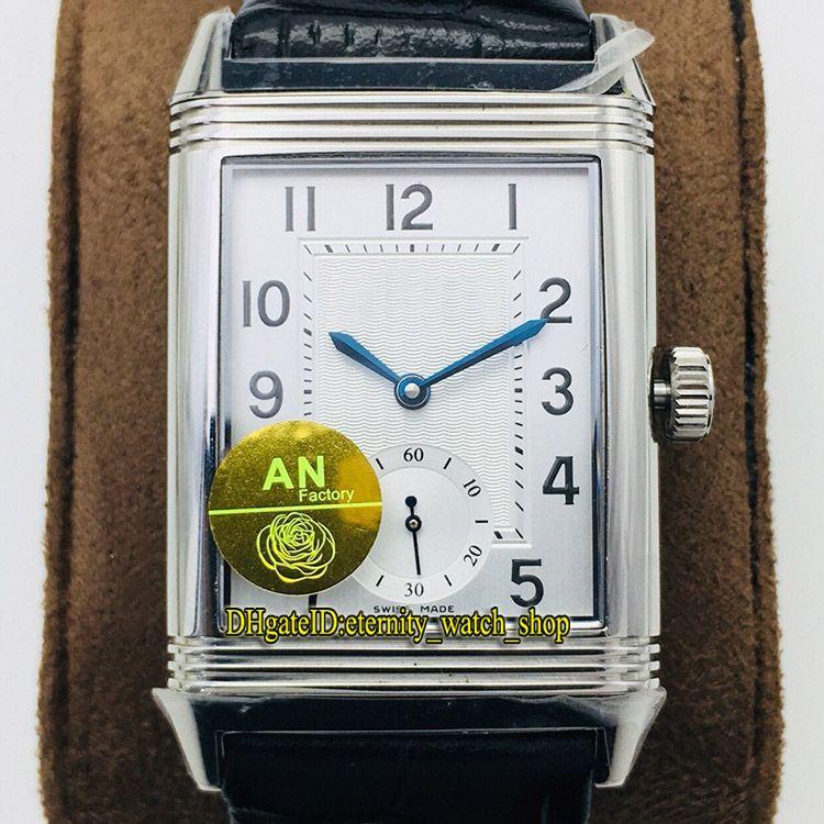 Top-Version ANF Reverso Flip su entrambi i lati Dual Time Zone 3848420 quadrante bianco CAL.854A / 2 Meccanico Avvolgimento a mano Uomo orologio da uomo Guarnizione flip 055