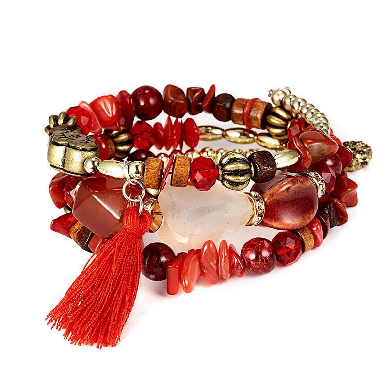 """Doreen Box Natural Stone Boho Chic Boemia Dainty Bracciali Bracciali delicato braccialetto bordati viola 22 centimetri (8 5/8"""" ) lungo 1 Pc"""