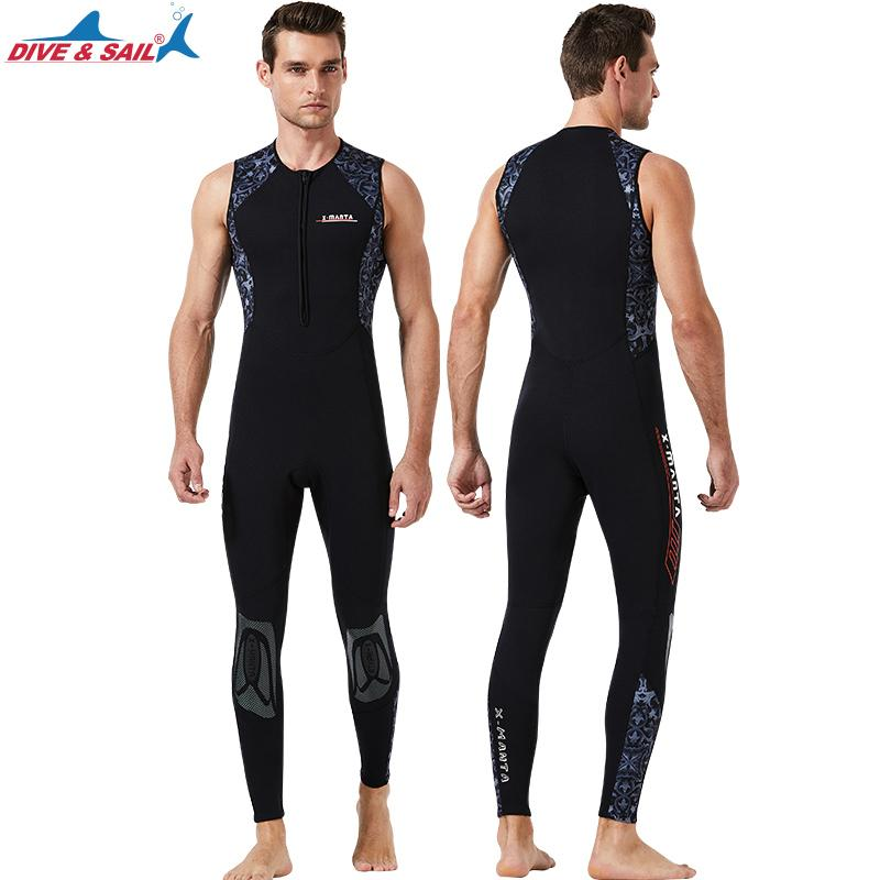Men's Neoprene 3mm Long John Fullsuit - Front Zip One Piece Diving Suits Sleeveless Wet Suit for Water Sports- Easy Stretch