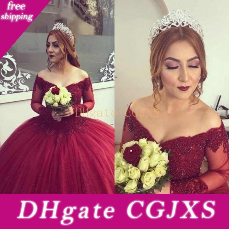 Deep Red Prom robe Bourgogne Robe de soirée épaules longues manches bouffantes robe de bal en dentelle étage Longueur Robes appliques de soirée robe de bal