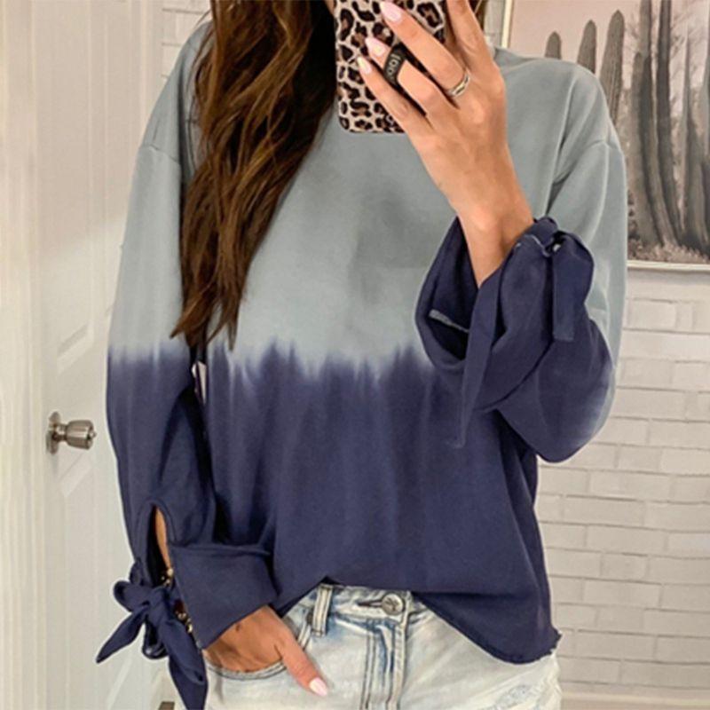Coloblock Печатный лук с длинным рукавом Streetwear женщин пуловер Толстовка 2020 Осень Зима Женщины Толстовки Толстовка Негабаритные