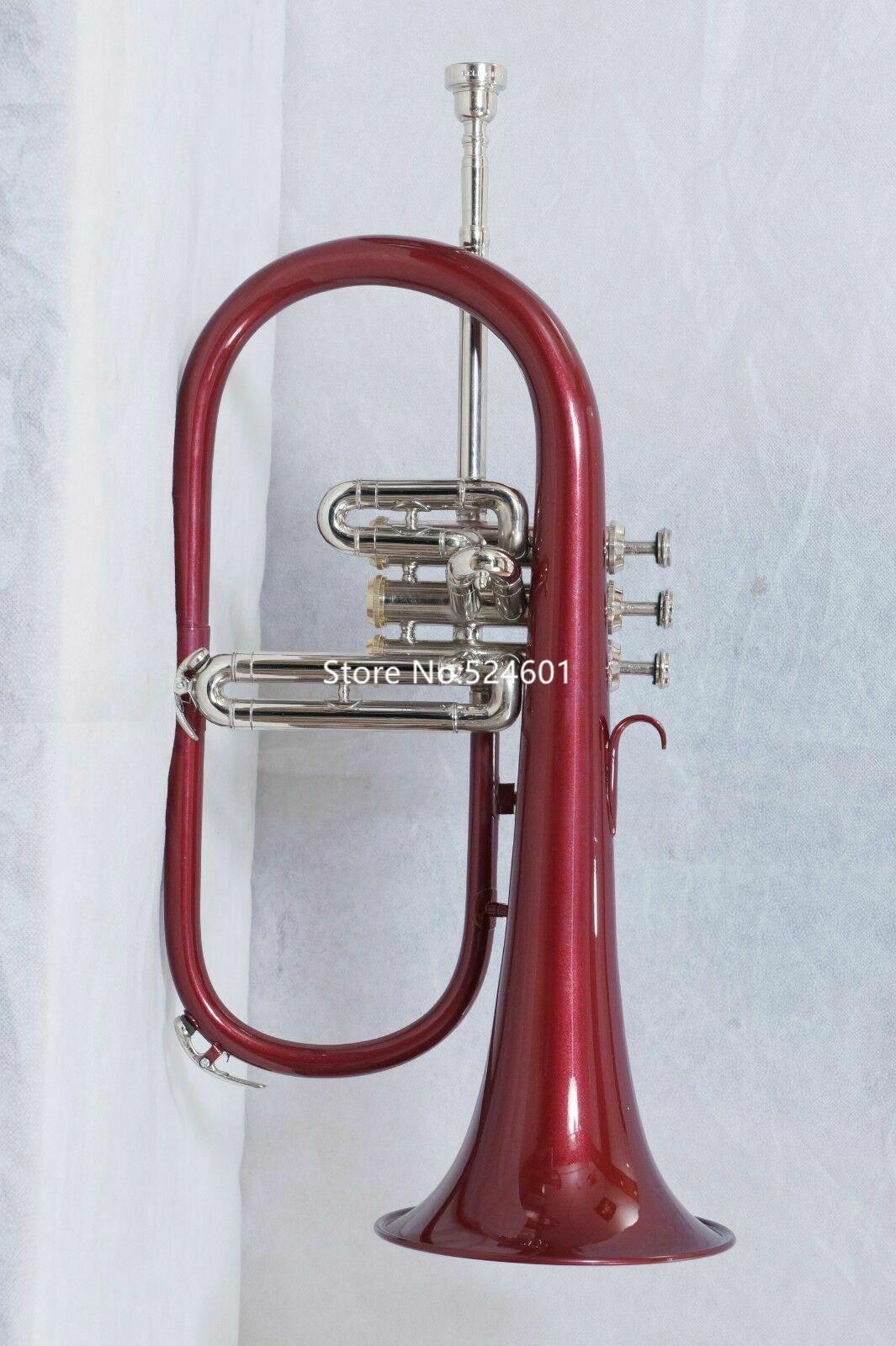 Nueva llegada instrumento Bb Fliscorno Campana de plata rojo Finalizar Selección de los expertos musical con el caso Accesorios envío