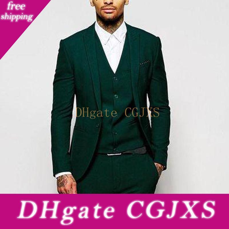 Модный дизайн зеленый Groom Tuxedos Groomsmen Пик нагрудные Best Man Костюмы мужские свадебные костюмы (куртка брюки жилет Tie) No: 709
