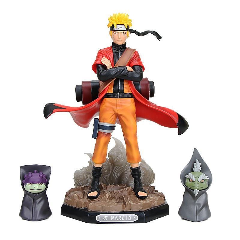Naruto Shippuden Uzumaki Naruto Figura Brinquedos Naruto Modo Sennin com presentes Shima Fukasaku Figura colecionáveis 18-22cm MX200811