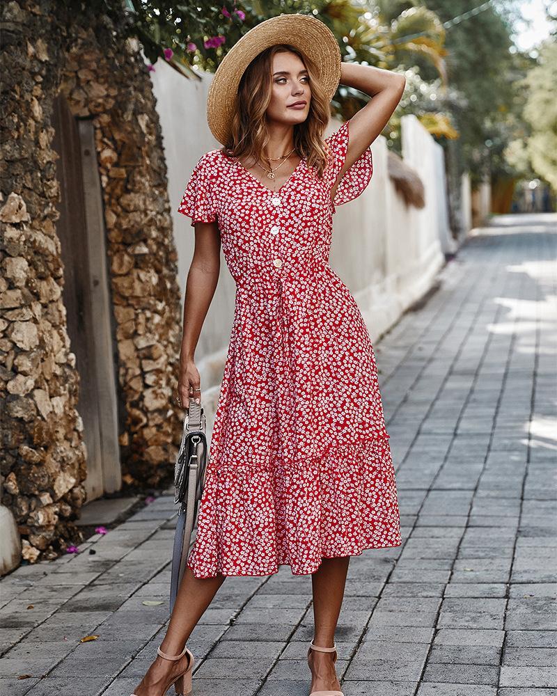 Mujeres se visten de 2020 nuevo del verano de Boho del estilo de la impresión floral del cuello en V vestido largo de las mujeres de vacaciones Playa vestidos de mujer Vestidos de fiesta LJ200814