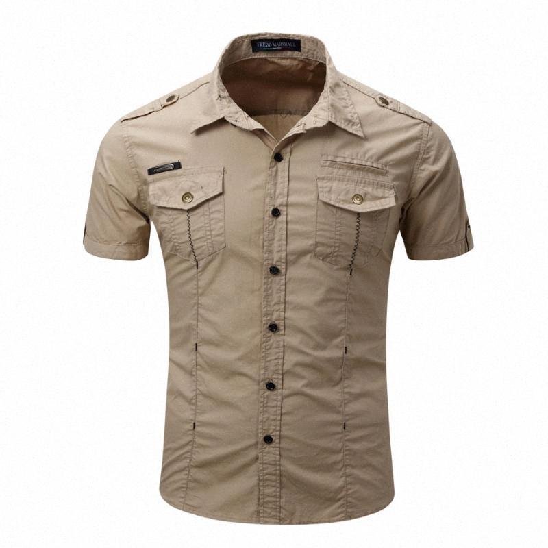 2020 2020 Yüksek Kalite Erkek Kargo Gömlek Erkekler Rasgele Gömlek Katı Kısa Kollu Gömlek Çalışma ile yıkayın Standart ABD boyutu% 100 Pamuk 1Mpu #